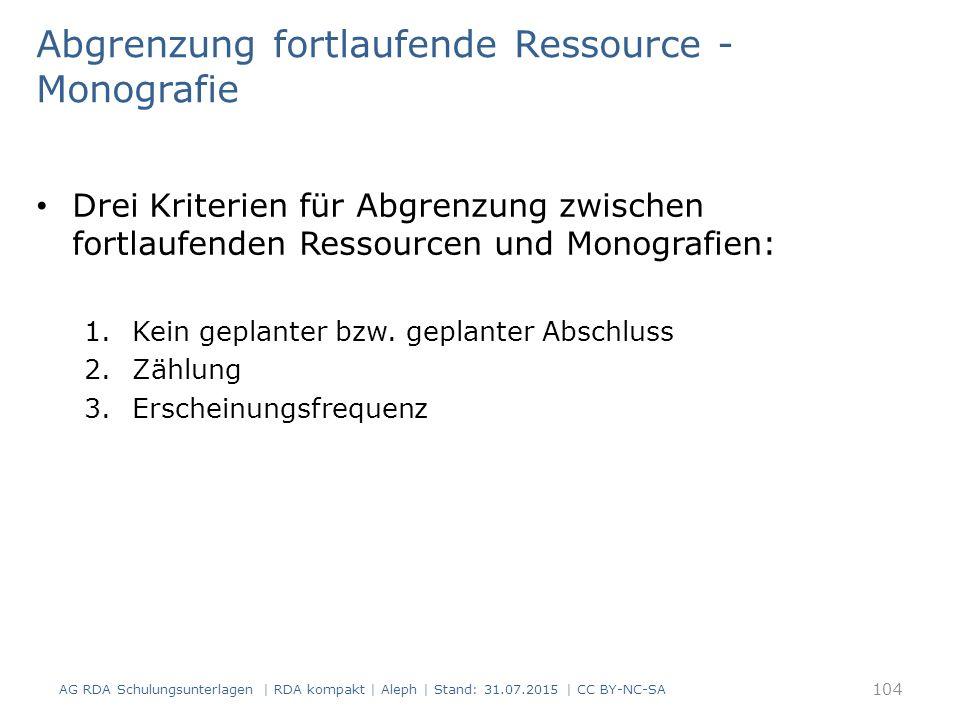 Abgrenzung fortlaufende Ressource - Monografie Drei Kriterien für Abgrenzung zwischen fortlaufenden Ressourcen und Monografien: 1.Kein geplanter bzw.