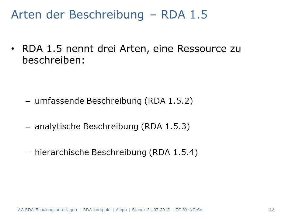 Arten der Beschreibung – RDA 1.5 RDA 1.5 nennt drei Arten, eine Ressource zu beschreiben: – umfassende Beschreibung (RDA 1.5.2) – analytische Beschreibung (RDA 1.5.3) – hierarchische Beschreibung (RDA 1.5.4) 92 AG RDA Schulungsunterlagen | RDA kompakt | Aleph | Stand: 31.07.2015 | CC BY-NC-SA