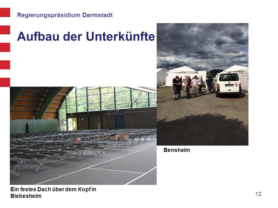 Regierungspräsidium Darmstadt Aufbau der Unterkünfte 12 Ein festes Dach über dem Kopf in Biebesheim Bensheim