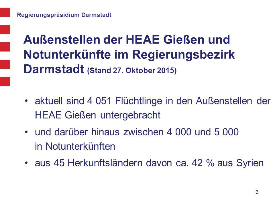 Außenstellen der HEAE Gießen und Notunterkünfte im Regierungsbezirk Darmstadt (Stand 27. Oktober 2015) aktuell sind 4 051 Flüchtlinge in den Außenstel