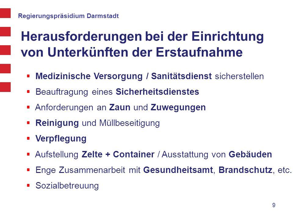 Regierungspräsidium Darmstadt Aufbau der Unterkünfte Koordination der Einrichtung der Unterkunft durch den Katastrophenschutzstab des RP Darmstadt und die Helfer vor Ort 10 Katastrophenstab beim RP - 24/7