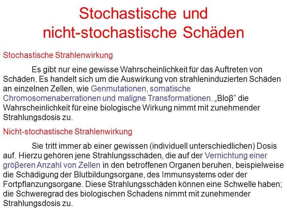 Stochastische und nicht-stochastische Schäden Stochastische Strahlenwirkung Es gibt nur eine gewisse Wahrscheinlichkeit für das Auftreten von Schäden.