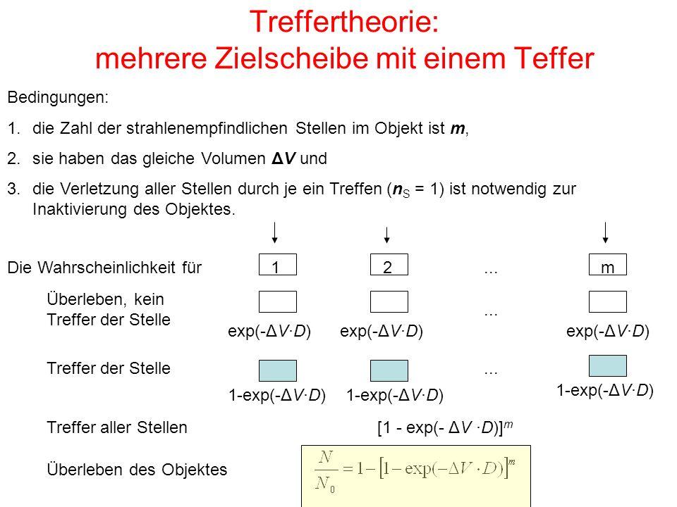 Treffertheorie: mehrere Zielscheibe mit einem Teffer Bedingungen: 1.die Zahl der strahlenempfindlichen Stellen im Objekt ist m, 2.sie haben das gleich