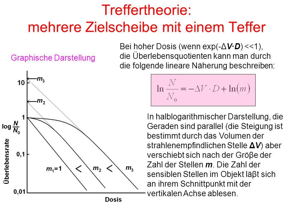 Treffertheorie: mehrere Zielscheibe mit einem Teffer Bei hoher Dosis (wenn exp(-ΔV·D) <<1), die Überlebensquotienten kann man durch die folgende linea