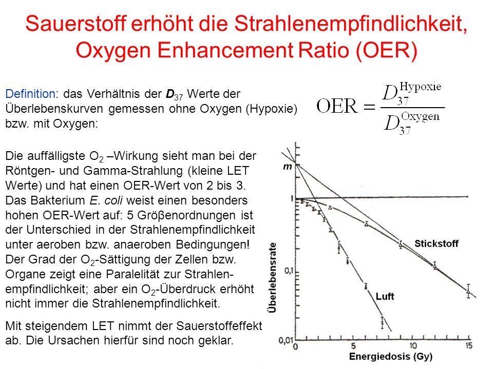 Sauerstoff erhöht die Strahlenempfindlichkeit, Oxygen Enhancement Ratio (OER) Definition: das Verhältnis der D 37 Werte der Überlebenskurven gemessen