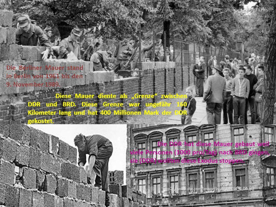 """Die Berliner Mauer stand in Berlin von 1961 bis den 9. November 1989. Diese Mauer diente als """"Grenze"""" zwischen DDR und BRD. Diese Grenze war ungefähr"""