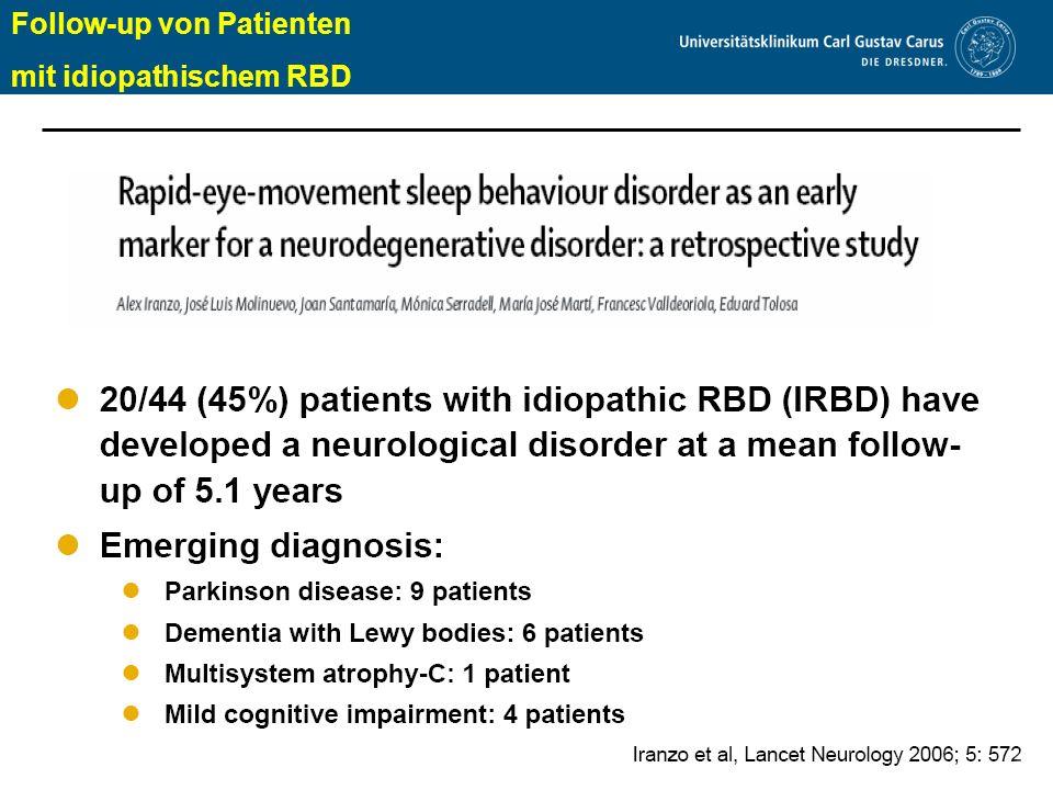 www.uniklinikum-dresden.de Follow-up von Patienten mit idiopathischem RBD