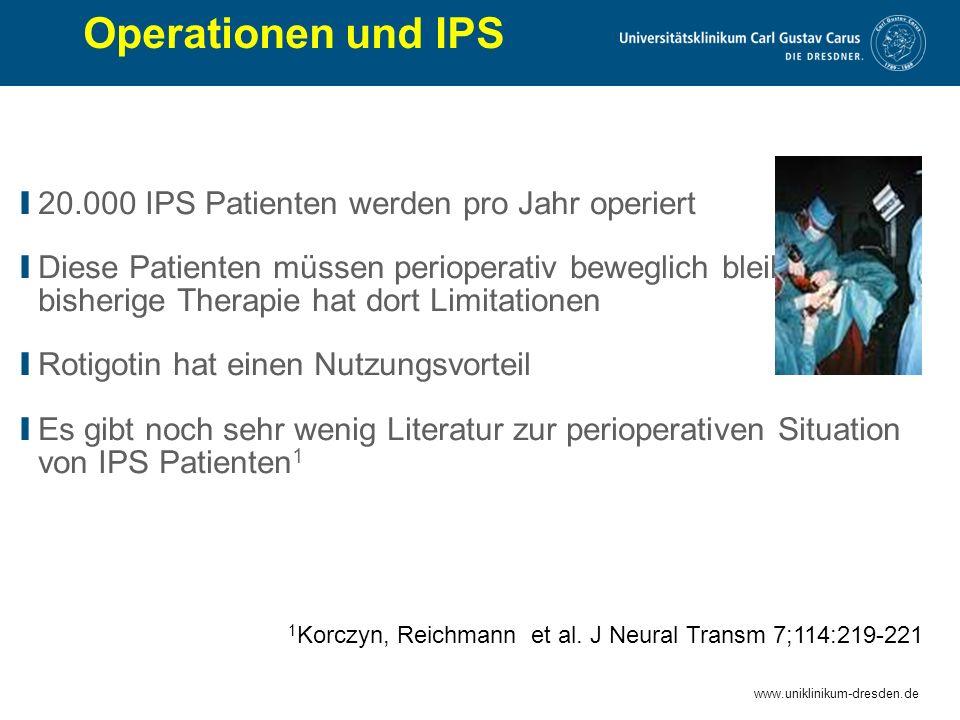 www.uniklinikum-dresden.de Operationen und IPS I 20.000 IPS Patienten werden pro Jahr operiert I Diese Patienten müssen perioperativ beweglich bleiben