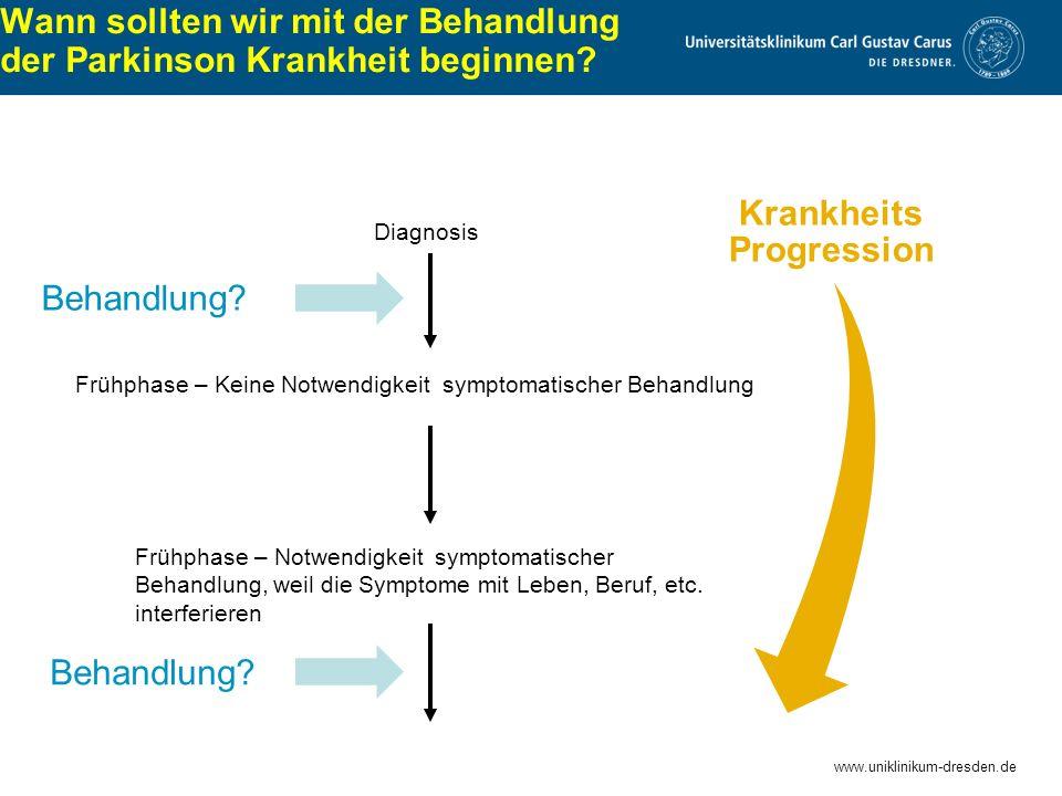 www.uniklinikum-dresden.de Wann sollten wir mit der Behandlung der Parkinson Krankheit beginnen? Frühphase – Notwendigkeit symptomatischer Behandlung,