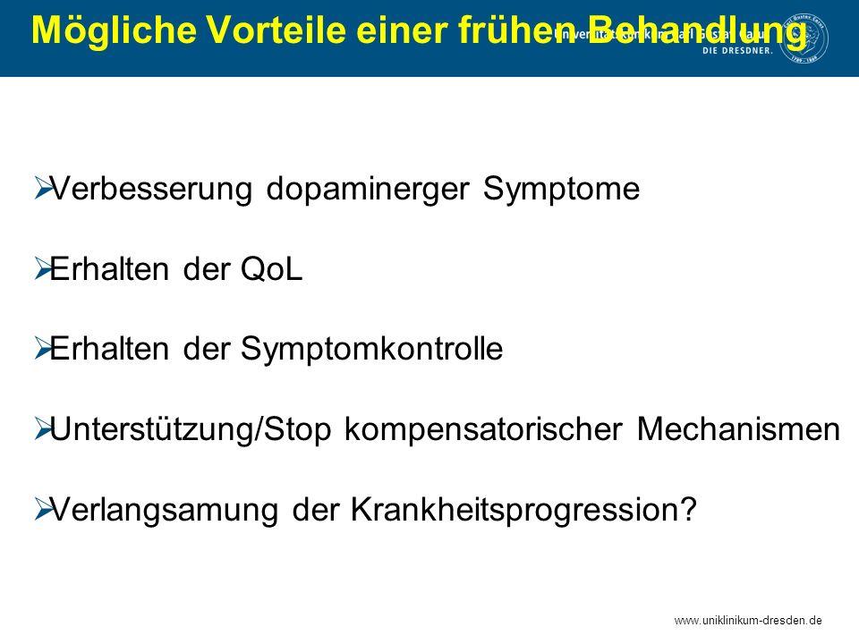www.uniklinikum-dresden.de Mögliche Vorteile einer frühen Behandlung  Verbesserung dopaminerger Symptome  Erhalten der QoL  Erhalten der Symptomkon