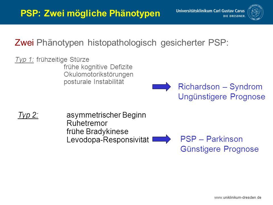www.uniklinikum-dresden.de Zwei Phänotypen histopathologisch gesicherter PSP: Typ 1: frühzeitige Stürze frühe kognitive Defizite Okulomotorikstörungen