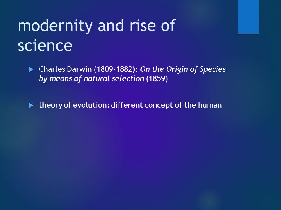 On the Origin of Species (1859) Theory of evolution / natural selection