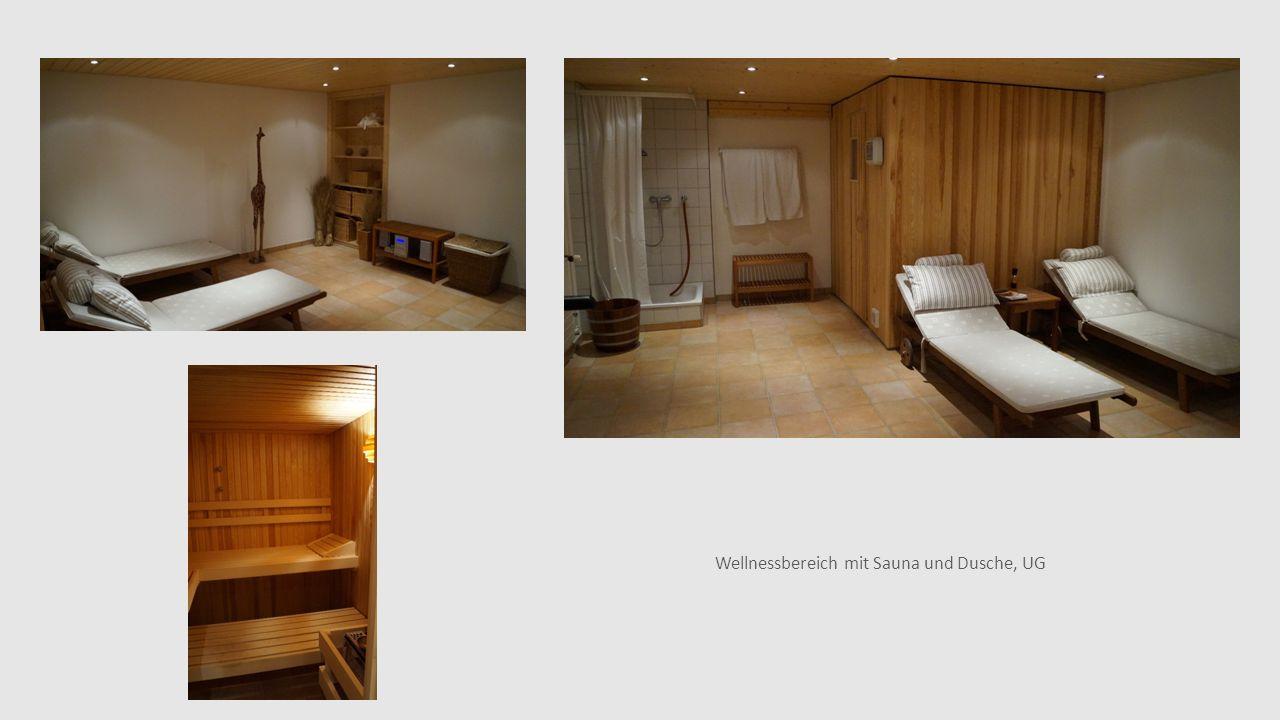 Wellnessbereich mit Sauna und Dusche, UG