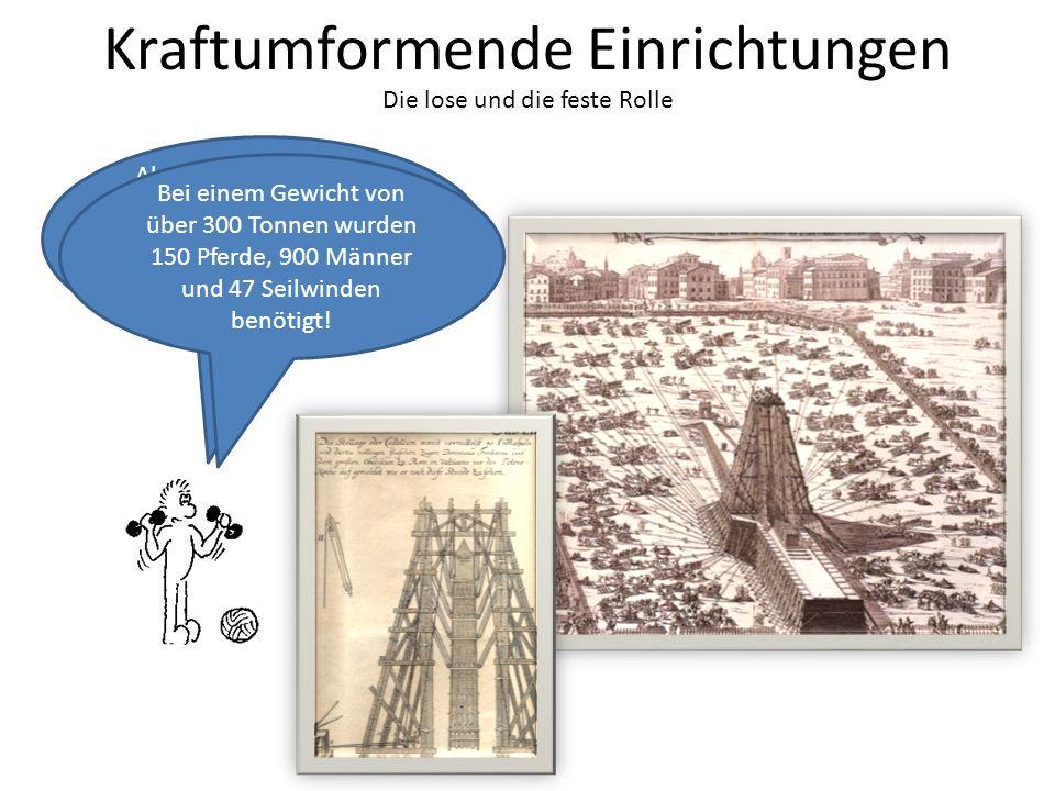 Die lose und die feste Rolle Kraftumformende Einrichtungen Als z.B. 1586 in Rom der Vatikanische Obelisk auf dem Petersplatz vor dem Petersdom erricht