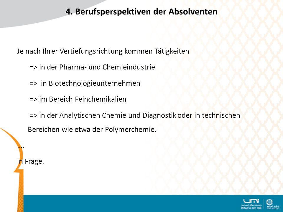 4. Berufsperspektiven der Absolventen Je nach Ihrer Vertiefungsrichtung kommen Tätigkeiten => in der Pharma- und Chemieindustrie => in Biotechnologieu