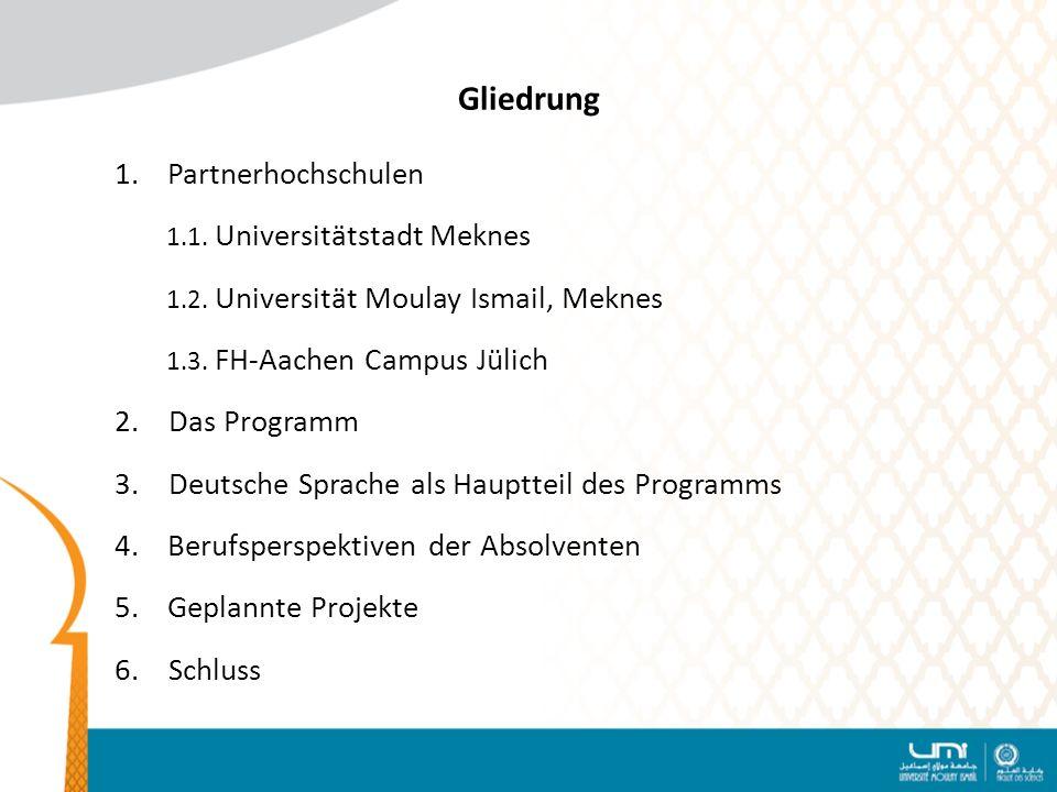Gliedrung 1.Partnerhochschulen 1.1.Universitätstadt Meknes 1.2.