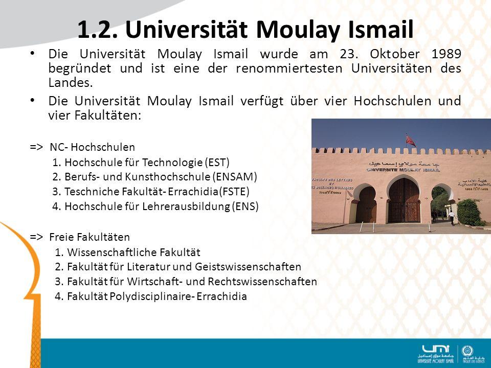 1.2.Universität Moulay Ismail Die Universität Moulay Ismail wurde am 23.