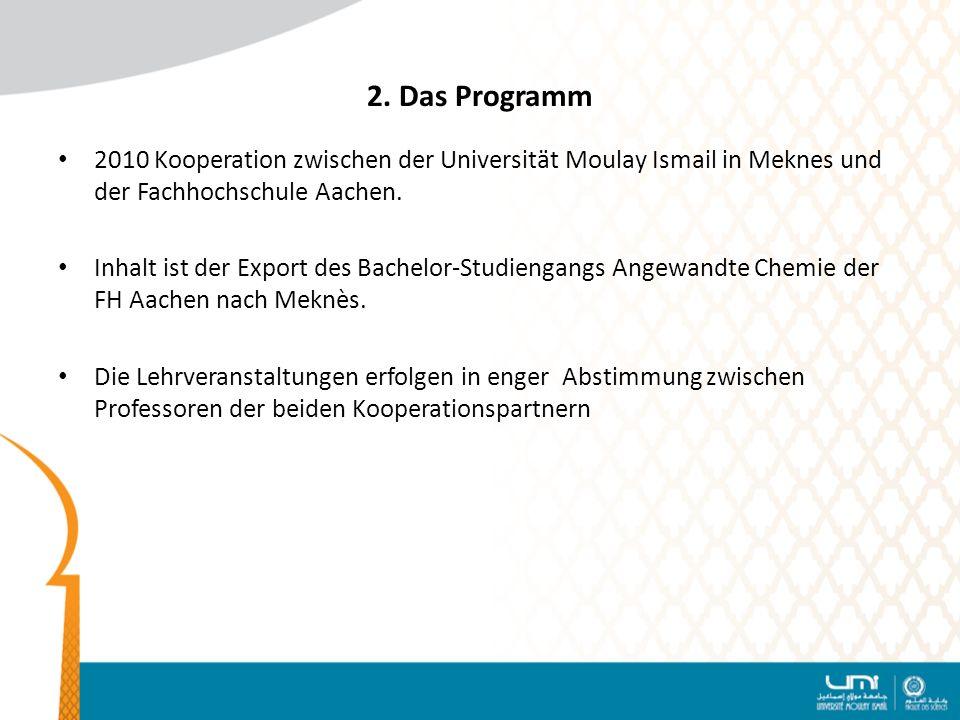 2. Das Programm 2010 Kooperation zwischen der Universität Moulay Ismail in Meknes und der Fachhochschule Aachen. Inhalt ist der Export des Bachelor-St