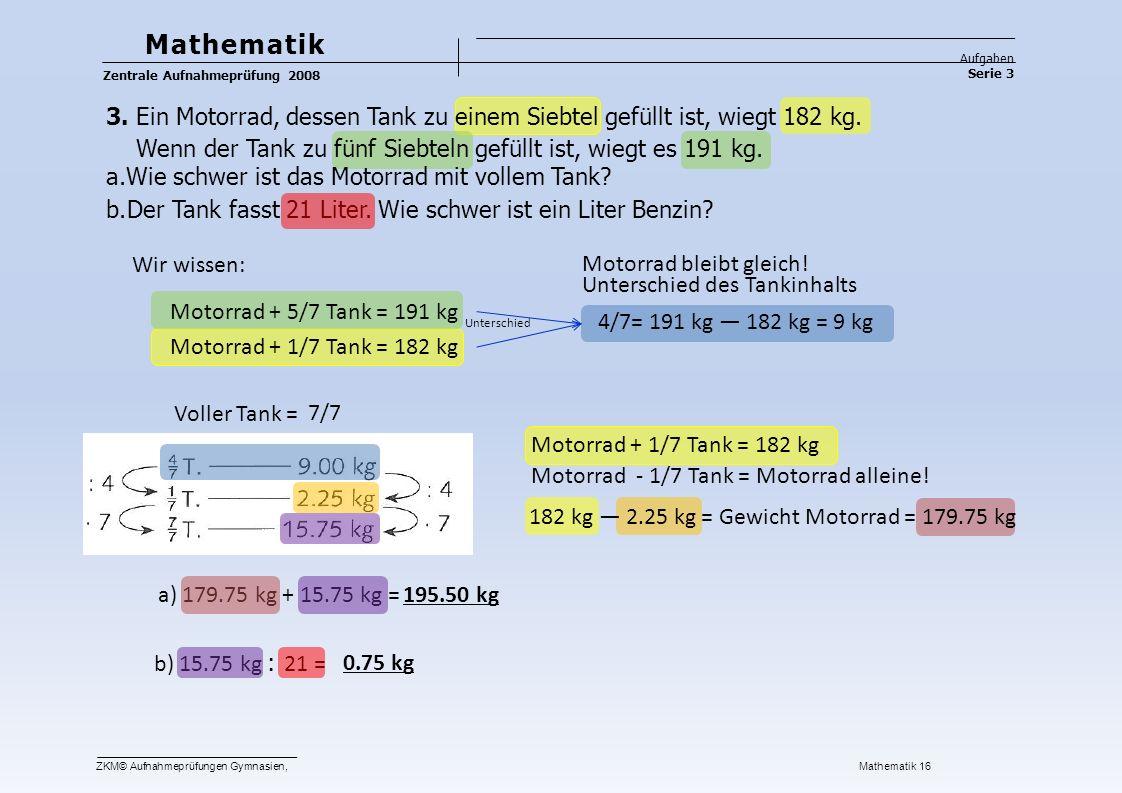 Serie 3 Mathematik Aufgaben Zentrale Aufnahmeprüfung 2008 3.