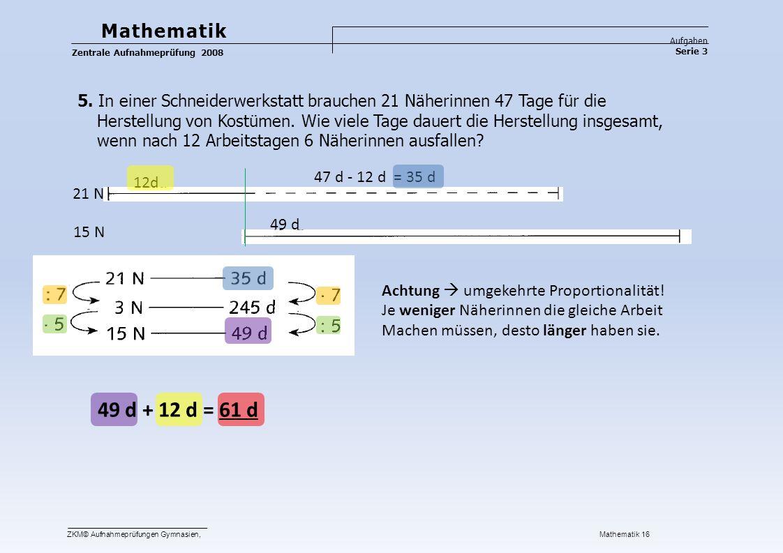 Mathematik Aufgaben Serie 3 Zentrale Aufnahmeprüfung 2008 5.