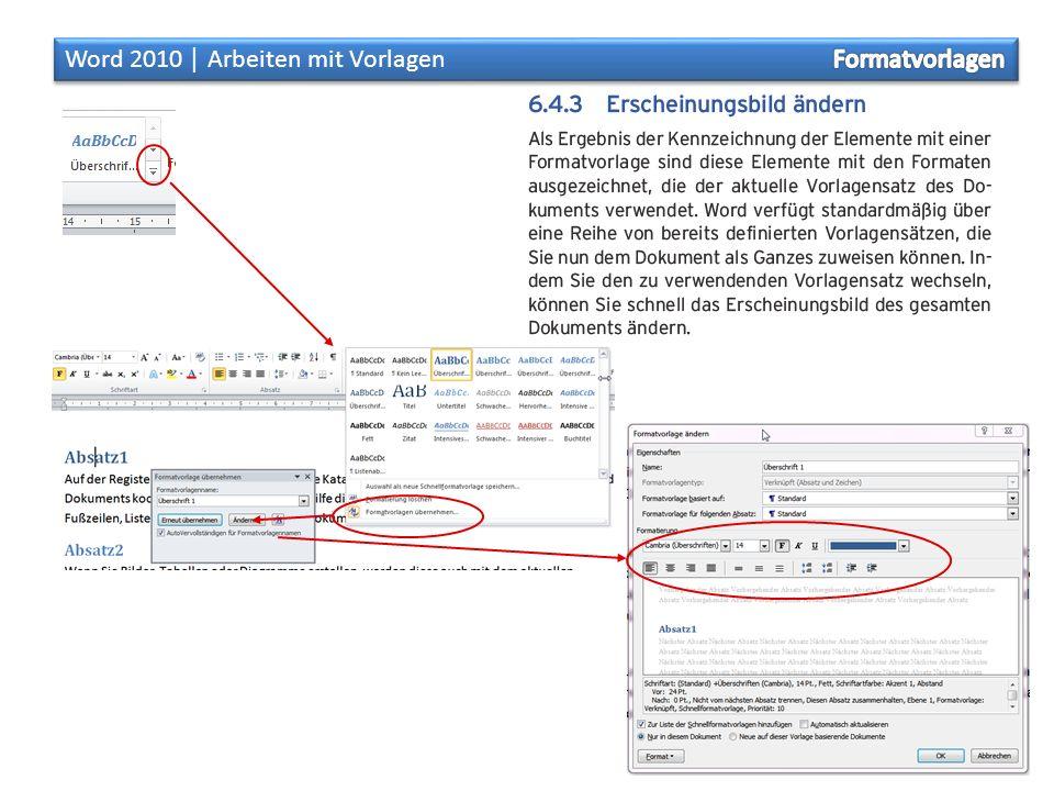 Aufgaben: Formatvorlagen öffne ein leeres Dokument und erzeuge mit =rand(9,2) einen Text mit neun Absätzen.