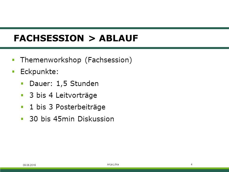 Anja Litka4 FACHSESSION > ABLAUF  Themenworkshop (Fachsession)  Eckpunkte:  Dauer: 1,5 Stunden  3 bis 4 Leitvorträge  1 bis 3 Posterbeiträge  30 bis 45min Diskussion 09.06.2015