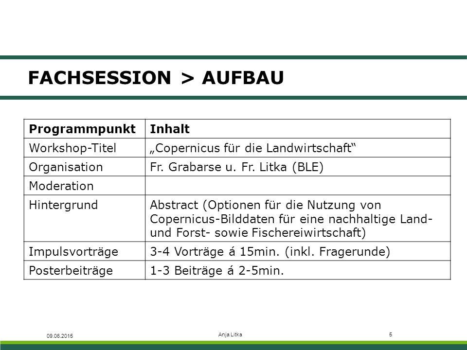 """Anja Litka5 FACHSESSION > AUFBAU 09.06.2015 ProgrammpunktInhalt Workshop-Titel""""Copernicus für die Landwirtschaft OrganisationFr."""