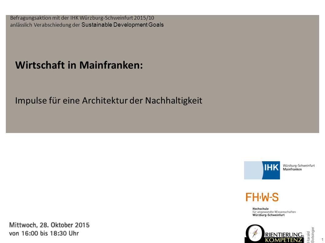 Wirtschaft in Mainfranken: Impulse für eine Architektur der Nachhaltigkeit 1 Harald Bolsinger Befragungsaktion mit der IHK Würzburg-Schweinfurt 2015/10 anlässlich Verabschiedung der Sustainable Development Goals