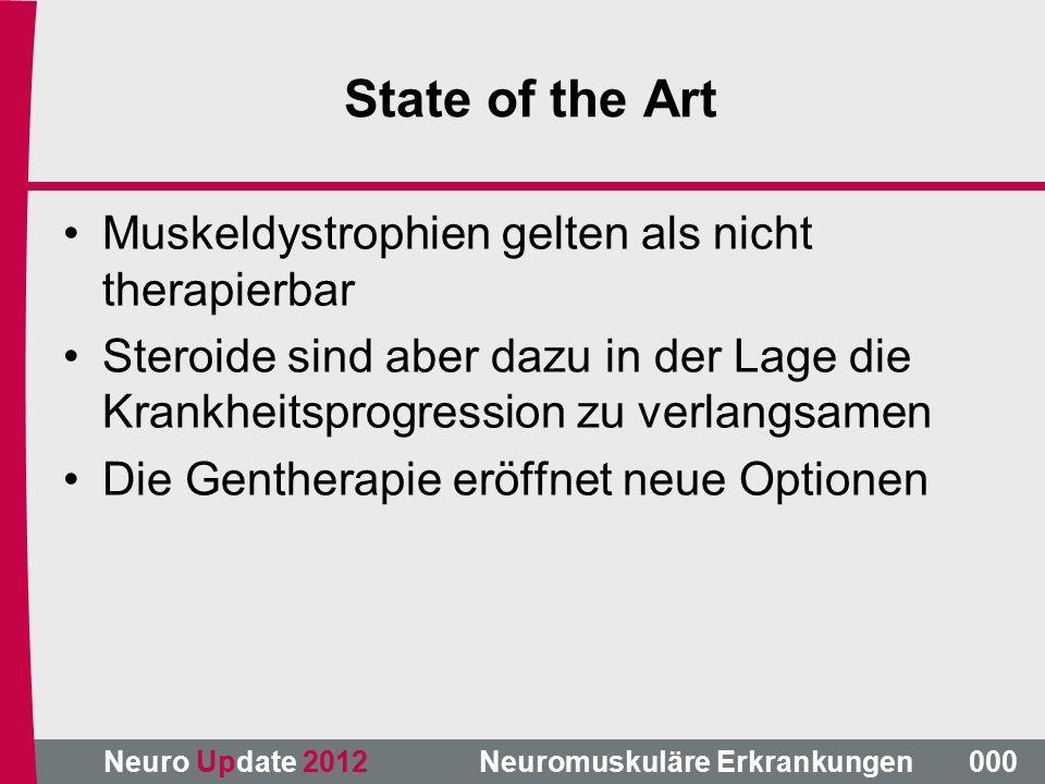 State of the Art Muskeldystrophien gelten als nicht therapierbar Steroide sind aber dazu in der Lage die Krankheitsprogression zu verlangsamen Die Gentherapie eröffnet neue Optionen 000