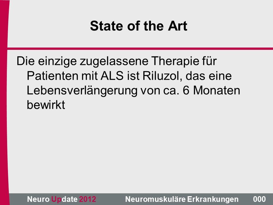 Neuro Update 2012 Neuromuskuläre Erkrankungen State of the Art Die einzige zugelassene Therapie für Patienten mit ALS ist Riluzol, das eine Lebensverlängerung von ca.