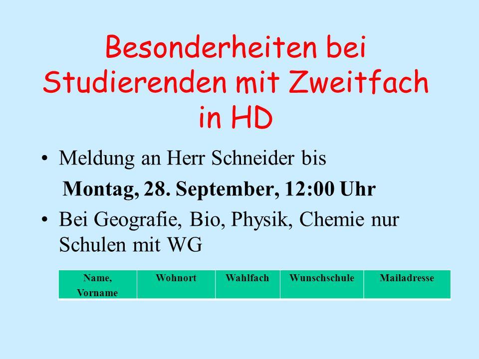 Besonderheiten bei Studierenden mit Zweitfach in HD Meldung an Herr Schneider bis Montag, 28.