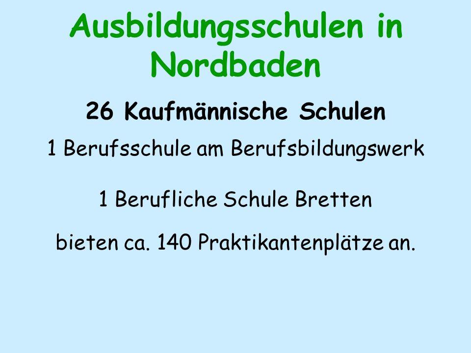 Ausbildungsschulen in Nordbaden 26 Kaufmännische Schulen 1 Berufsschule am Berufsbildungswerk 1 Berufliche Schule Bretten bieten ca.