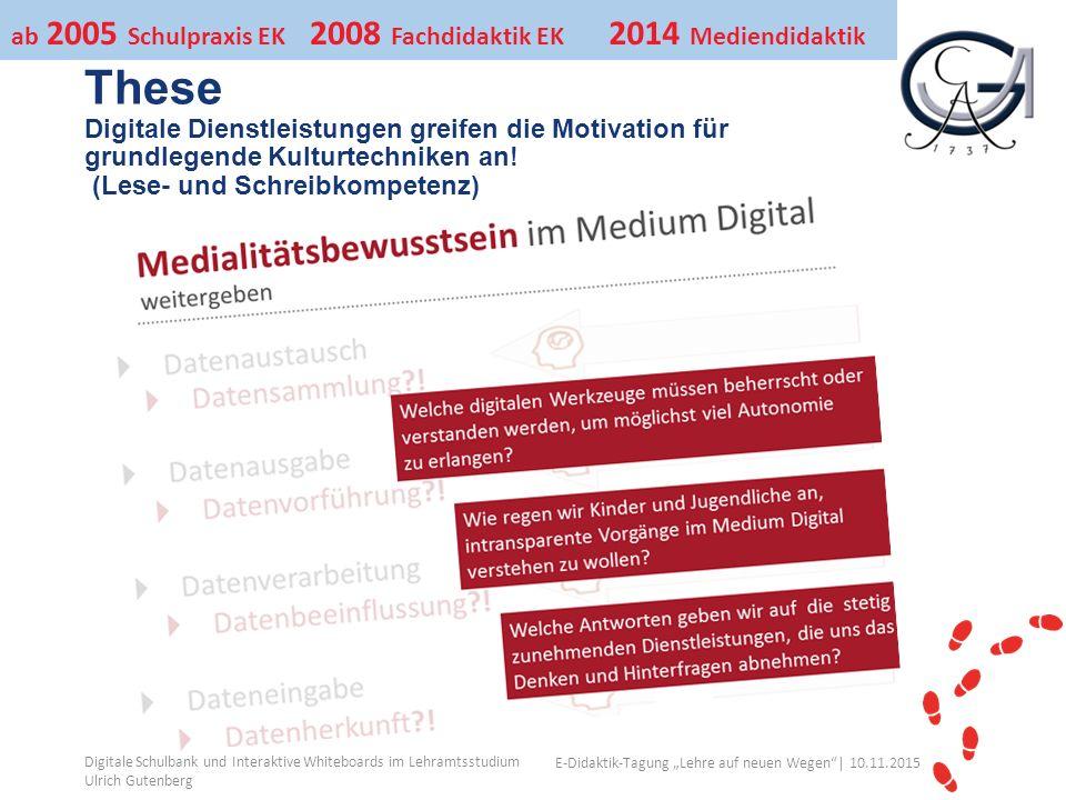 """Ihr Uni-Logo E-Didaktik-Tagung """"Lehre auf neuen Wegen │ 10.11.2015 These Digitale Dienstleistungen greifen die Motivation für grundlegende Kulturtechniken an."""