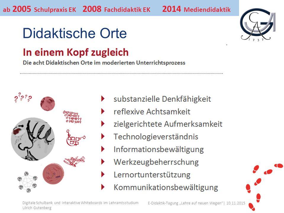 """Ihr Uni-Logo E-Didaktik-Tagung """"Lehre auf neuen Wegen""""│ 10.11.2015 Didaktische Orte Digitale Schulbank und Interaktive Whiteboards im Lehramtsstudium"""