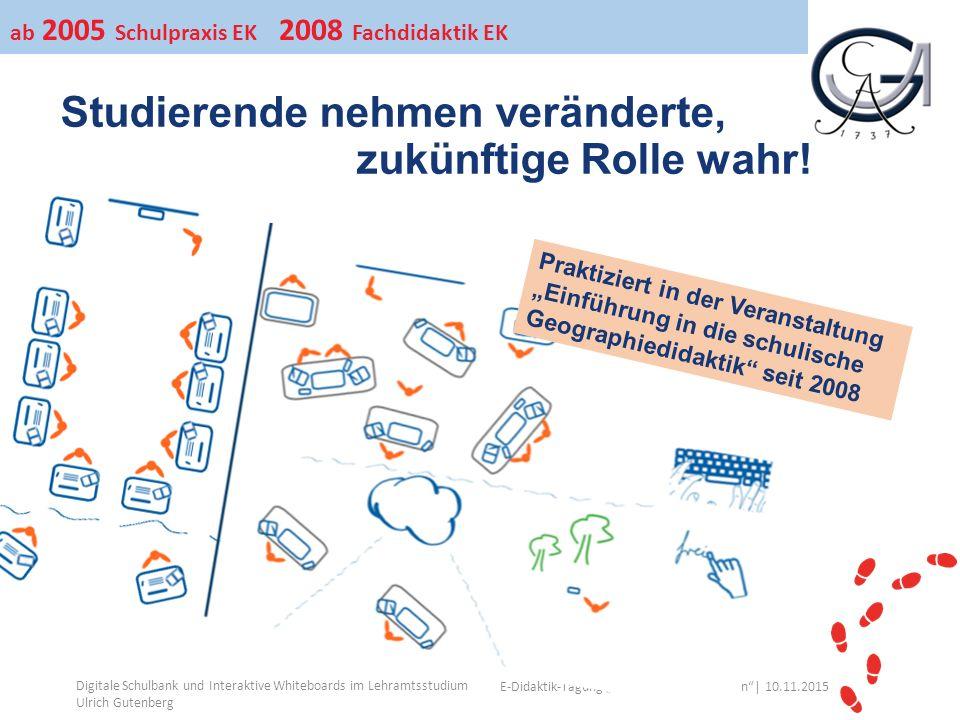 """Ihr Uni-Logo E-Didaktik-Tagung """"Lehre auf neuen Wegen""""│ 10.11.2015 Studierende nehmen veränderte, zukünftige Rolle wahr! Digitale Schulbank und Intera"""