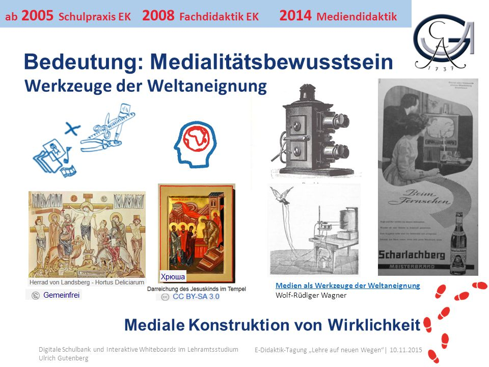"""Ihr Uni-Logo E-Didaktik-Tagung """"Lehre auf neuen Wegen""""│ 10.11.2015 Medien als Werkzeuge der Weltaneignung Wolf-Rüdiger Wagner Digitale Schulbank und I"""