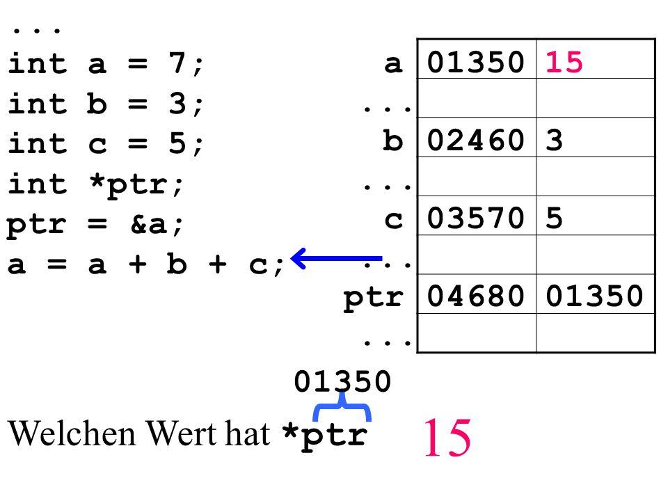 int a = 7; int b = 3; int c = 5; int *ptr; ptr = &a; a = a + b + c; 0135015a...