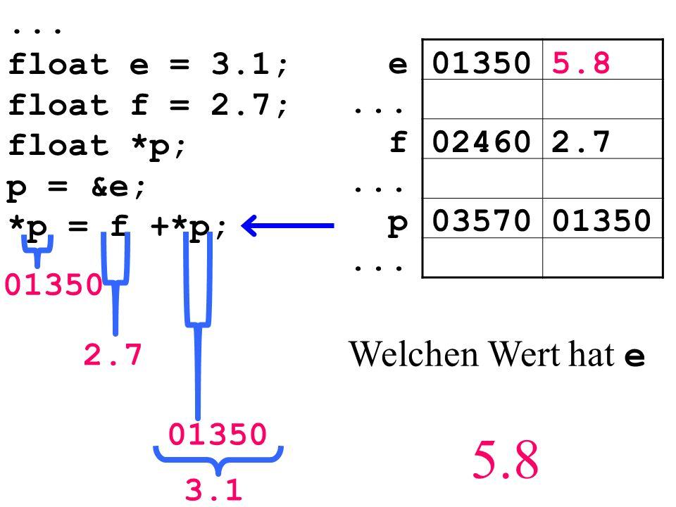 ... float e = 3.1; float f = 2.7; float *p; p = &e; *p = f +*p; 013505.8e...