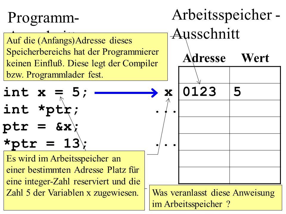 Der Wert eines Pointers wird mit %p ausgegeben. Siehe folgendes Beispiel:
