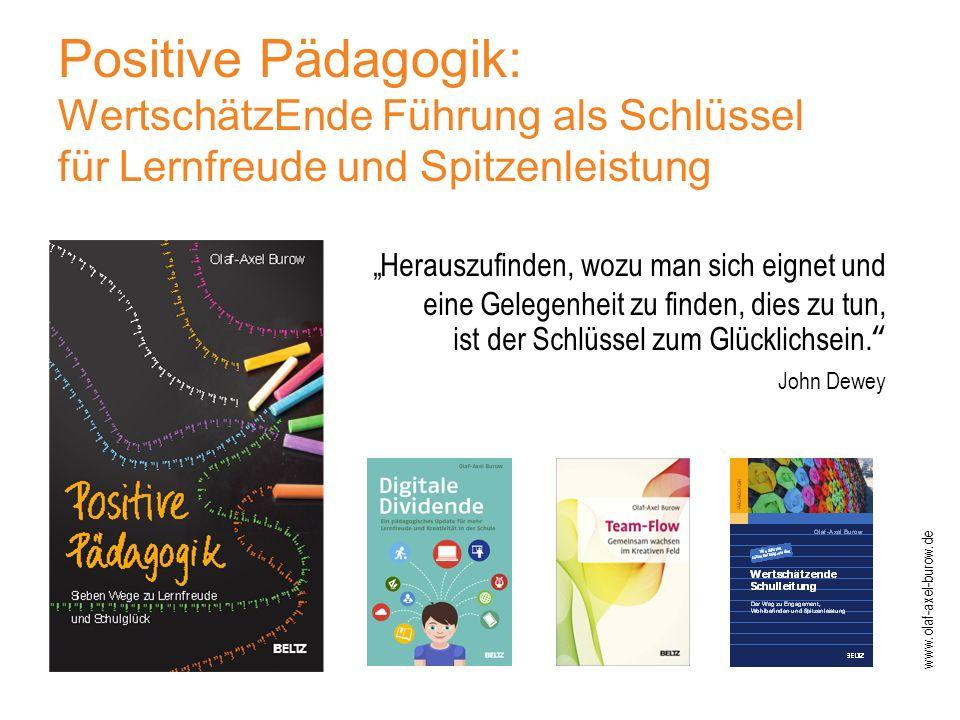 """Positive Pädagogik: WertschätzEnde Führung als Schlüssel für Lernfreude und Spitzenleistung """"Herauszufinden, wozu man sich eignet und eine Gelegenheit zu finden, dies zu tun, ist der Schlüssel zum Glücklichsein. John Dewey www.olaf-axel-burow.de"""