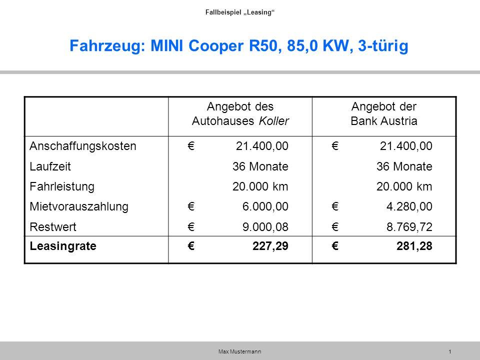 """Fallbeispiel """"Leasing"""" Max Mustermann1 Fahrzeug: MINI Cooper R50, 85,0 KW, 3-türig Angebot des Autohauses Koller Angebot der Bank Austria Anschaffungs"""