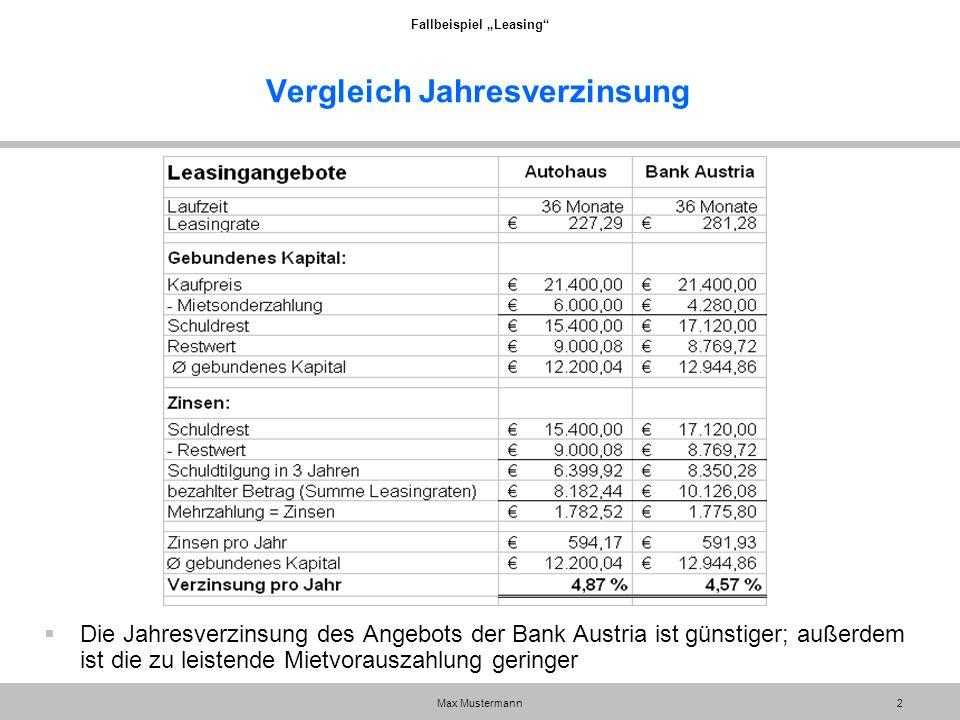 """Fallbeispiel """"Leasing"""" Max Mustermann2 Vergleich Jahresverzinsung  Die Jahresverzinsung des Angebots der Bank Austria ist günstiger; außerdem ist die"""