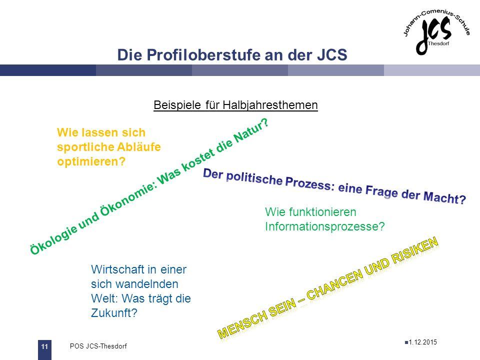 11 POS JCS-Thesdorf29.11.2011 Die Profiloberstufe an der JCS Beispiele für Halbjahresthemen Ökologie und Ökonomie: Was kostet die Natur.
