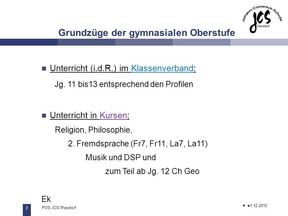 2 POS JCS-Thesdorf29.11.2011 Grundzüge der gymnasialen Oberstufe 27.11.2012 Unterricht (i.d.R.) im Klassenverband: Jg.