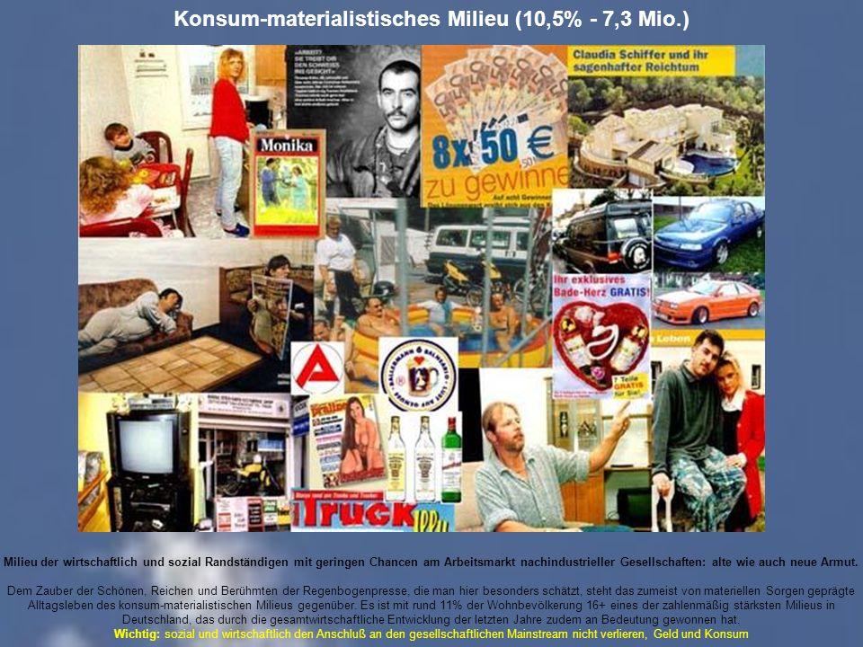 Konsum-materialistisches Milieu (10,5% - 7,3 Mio.) Milieu der wirtschaftlich und sozial Randständigen mit geringen Chancen am Arbeitsmarkt nachindustrieller Gesellschaften: alte wie auch neue Armut.