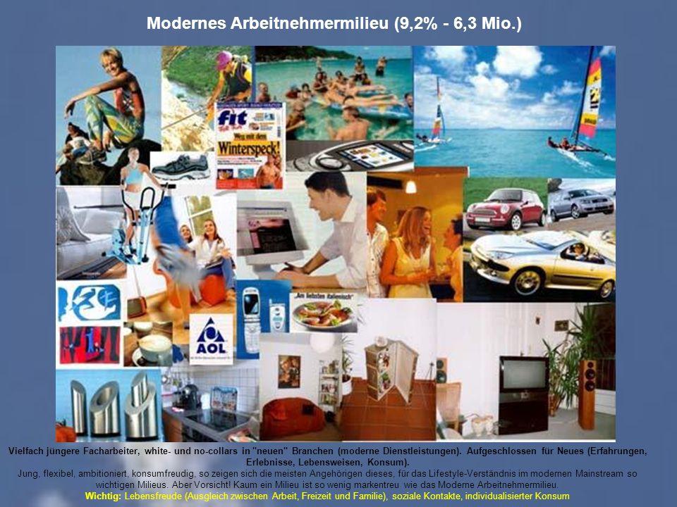 Modernes Arbeitnehmermilieu (9,2% - 6,3 Mio.) Vielfach jüngere Facharbeiter, white- und no-collars in neuen Branchen (moderne Dienstleistungen).