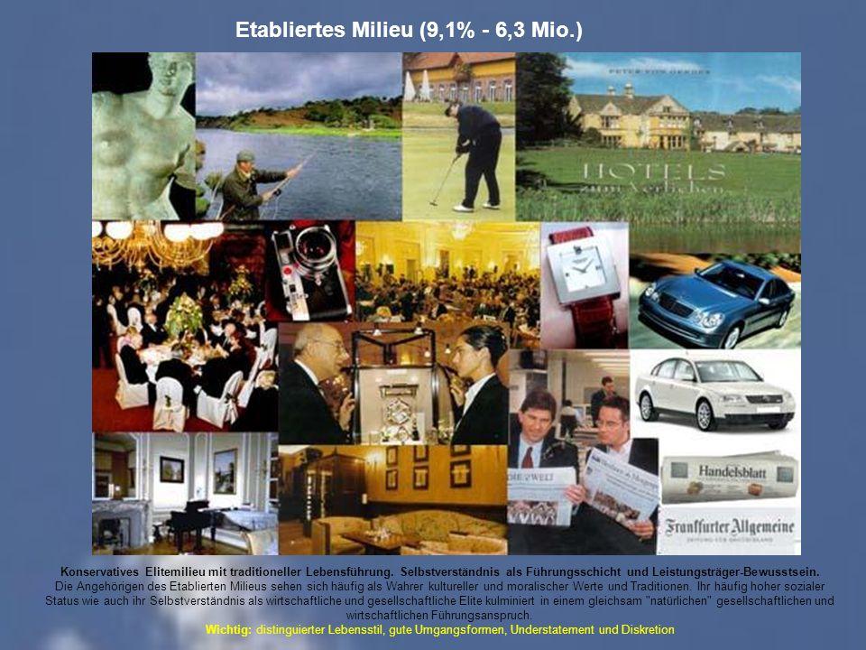Etabliertes Milieu (9,1% - 6,3 Mio.) Konservatives Elitemilieu mit traditioneller Lebensführung.