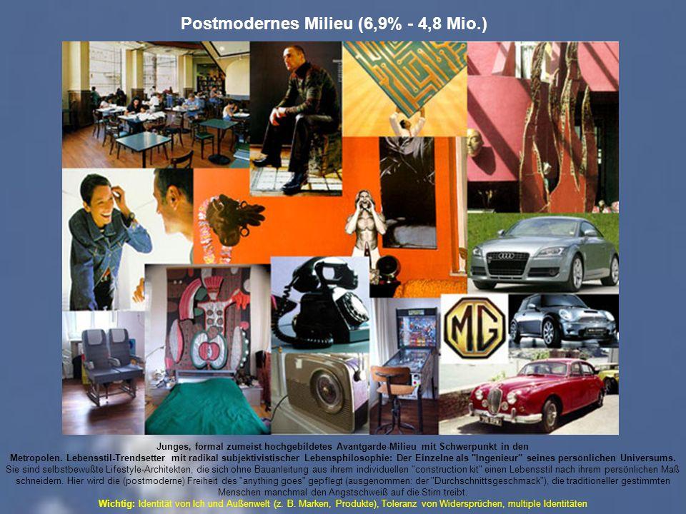 Postmodernes Milieu (6,9% - 4,8 Mio.) Junges, formal zumeist hochgebildetes Avantgarde-Milieu mit Schwerpunkt in den Metropolen.