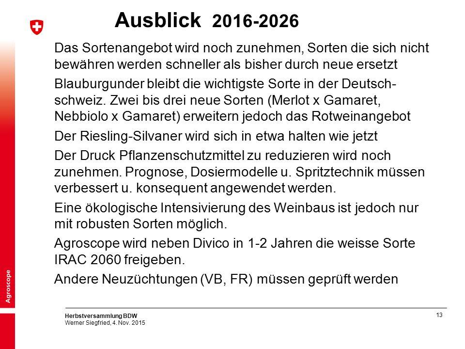 13 Herbstversammlung BDW Werner Siegfried, 4. Nov. 2015 Ausblick 2016-2026 Das Sortenangebot wird noch zunehmen, Sorten die sich nicht bewähren werden
