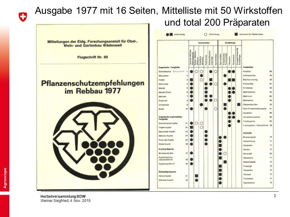 2 Herbstversammlung BDW Werner Siegfried, 4. Nov. 2015 Ausgabe 1977 mit 16 Seiten, Mittelliste mit 50 Wirkstoffen und total 200 Präparaten